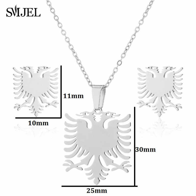 SMJEL Albania Eagle Earrings for Men Gold Stainless Steel Animal Double Head Bird Necklace Jewelry Set Ethnic Flag Gifts Collier