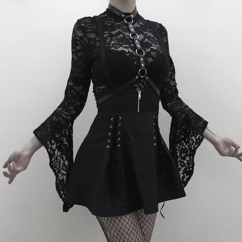 Women Gothic Skirt Punk Sexy Black Lace-up Zipper Strap Pleated Vestito Punk High Waist Short Dresses Costume Peampunk Jupe