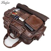 Портфель мужской из натуральной кожи, большой тоут для ноутбука 16 дюймов, деловая сумка из воловьей кожи, двухслойный мессенджер