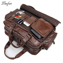 """Mens genuine leather briefcase 16"""" Big real leather laptop tote bag Cow leather business bag double layer messenger bag"""