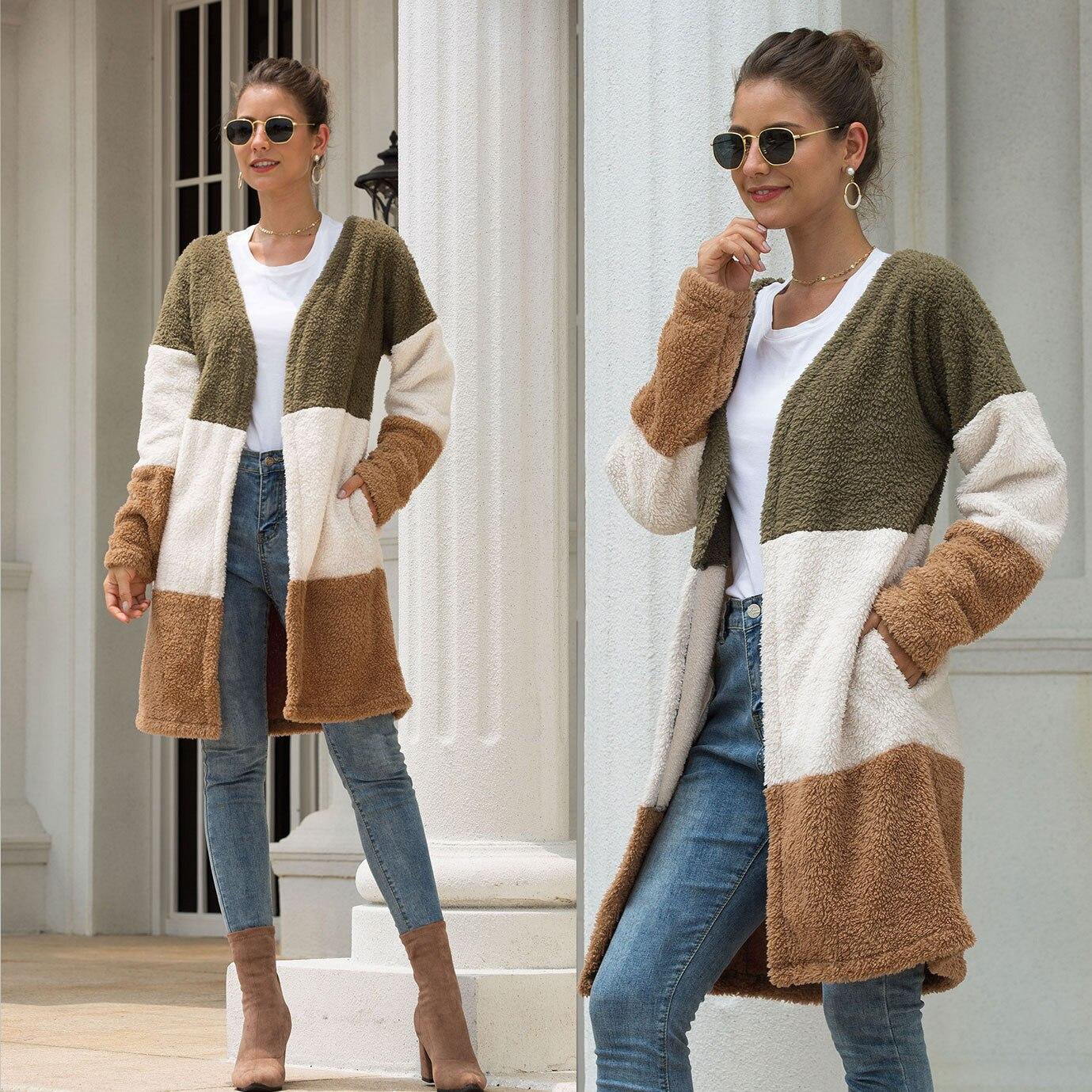 Jacket Cardigan Windbreaker Stitching Loose Plush Casual Women's Hot Shawl Big Season
