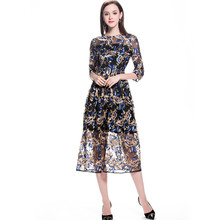 Women Clothing 2019 Autumn Embroidered Lady Dresses Fashion Long  Dress Mesh For Vestidos C402