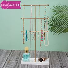 3-layers Hanging Jewelry Organizer Tiered Tabletop Countertop Free Standing Necklace Holder Display