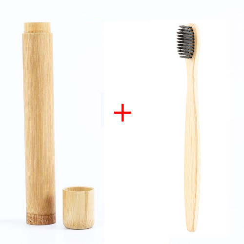 1pcs Natural Portable Soft Bamboo Toothbrush + Bamboo Toothbrush Box Environmentally Friendly Oral Cleaning Brush Care Tool