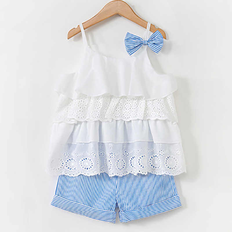 Girl's Clothes New 2019 Summer Children Bow Lace Sling T-shirt+Striped Short Pants Sets Kids Sleeveless Clothing Sets 3-7t