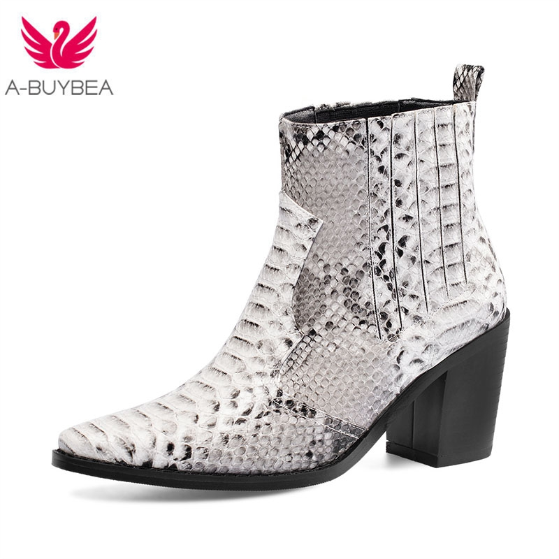 Autumn Boots Shoes Motorcycle-Boots Snake Spring High-Heels Genuine-Leather Ladies New