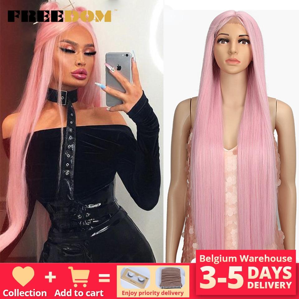 Liberdade peruca dianteira do laço sintético 38 polegadas parte profunda longa reta perucas ombre cosplay perucas peruca de renda sintética para preto