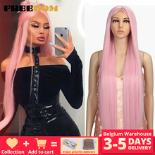 FREEDOM Synthetic Lace Front Wig 38 Inches Deep Part Long Straight Wigs Ombre Cosplay Wigs Synthetic Lace Wig for Black Women