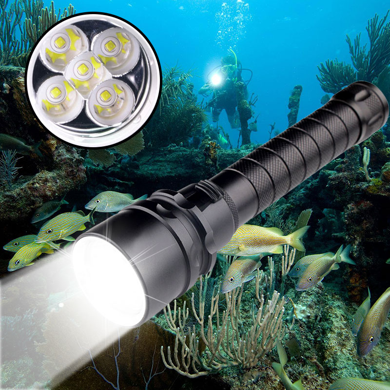 Professional Diving Flashlight 5 T6 L2 LED Strong Light Portable Flashlight 500M Underwater IPX68 Waterproof Outdoor Torch