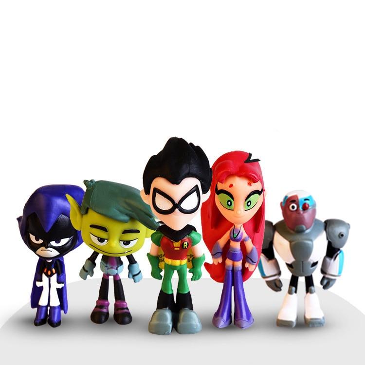 6PCS/Set Teens Titans Go Action Figure Robin Raven Beast Boy Starfire Mini Figurine Toys PVC Model Kids Birthday Toy