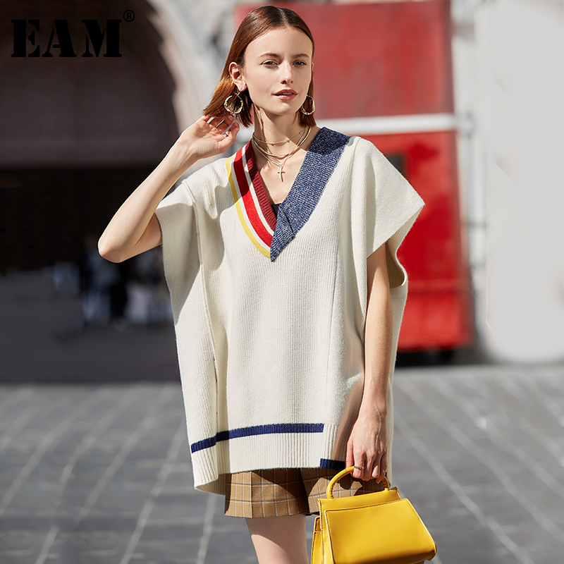 [EAM] Contrast Color Big Size Knitting Sweater Loose Fit V-Neck Short Sleeve Women Pullovers New Fashion Tide Spring 2020 1S064