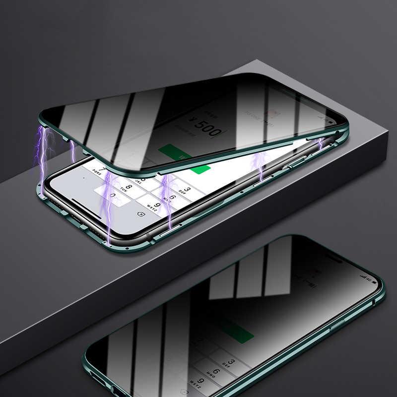 Gizlilik temperli cam manyetik iphone için kılıf 11 Pro MAX X XS XR 8 7 6 6s artı Anti Peep mıknatıs metal 360 ° koruma kapağı
