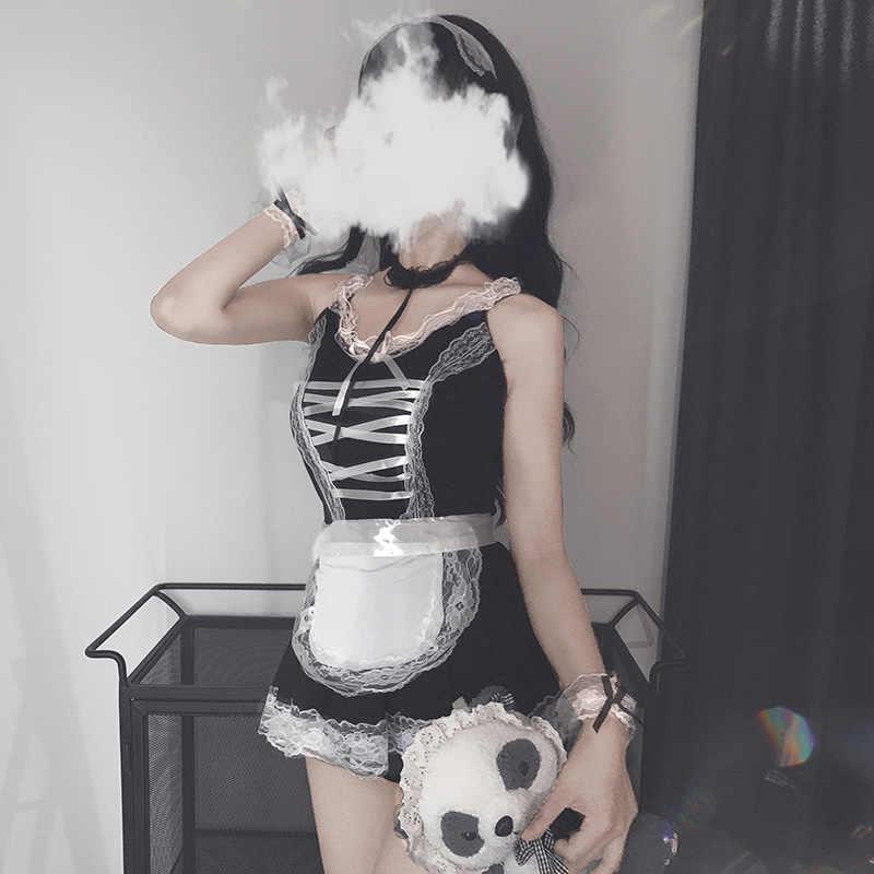 Sexy Catwomen Kitty Vestito di Cotone Grembiule Bella Del Merletto Del Mini Vestito Per Le Donne Anime Nero Bianco Lolita Busto Aperto Cameriera Cosplay costume