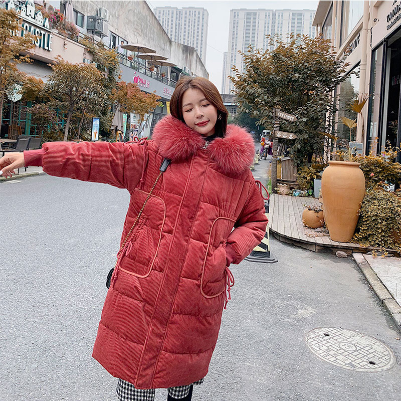 Women Colorful Fur Collar Hooded Oversize Velour Winter   Down     Coat   Thick Warm Jacket Cotton Padded Wadded Parkas Big Pocket