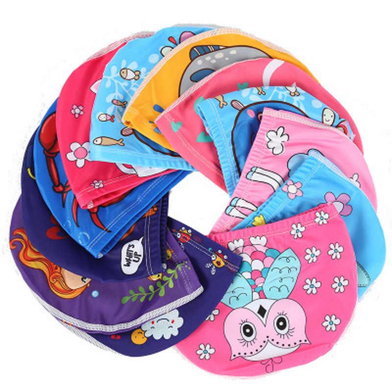 1pc การ์ตูน Unicorn ผ้ายืดหยุ่นพิมพ์หมวกว่ายน้ำผมยาวน่ารักเด็กป้องกันสระว่ายน้ำหมวกสำหรับชายหญิง