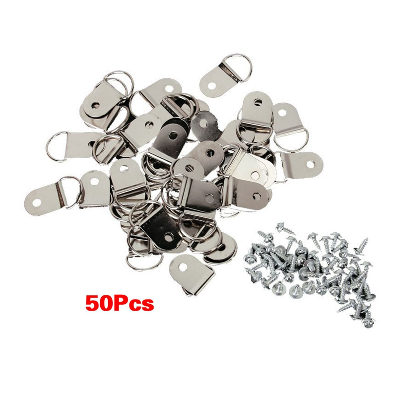 50 Pcs Medium D-Ring Picture Frame Strap Hangers With Screws