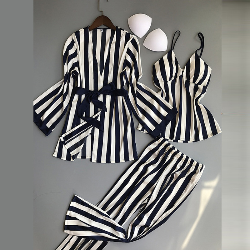 Women Pajamas Sets 3 Pieces Fashion Spaghetti Strap Tops Satin Sleepwear Female Stripes Long Sleeve Summer Home Clothing Pijama