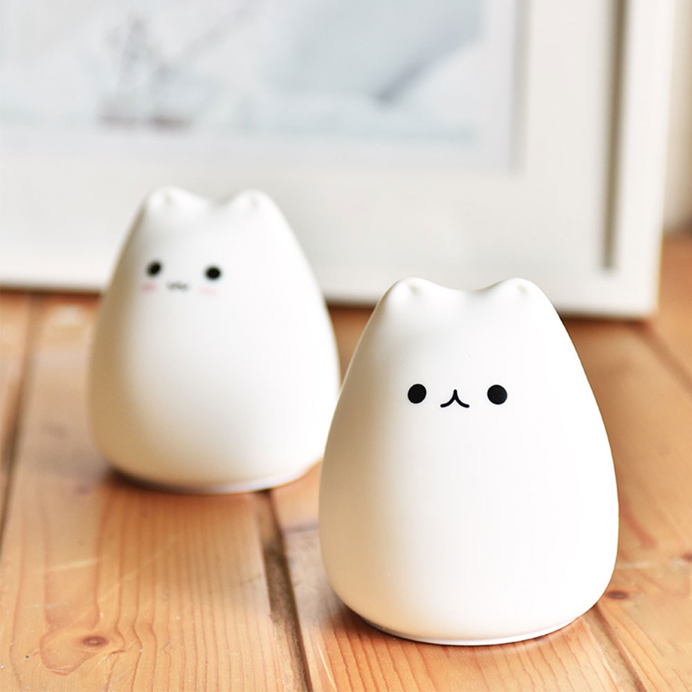 Cat Silicone Animal Light Touch Sensor LED Night Lamp Colorful Child Holiday Gift Sleepping Creative Bedroom