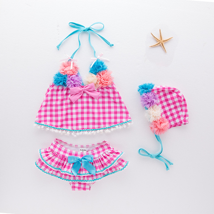 Girls' Two-piece Swimsuit Flower Fairy SECTION Plaid Swimwear Children Hot Springs Tour Bathing Suit