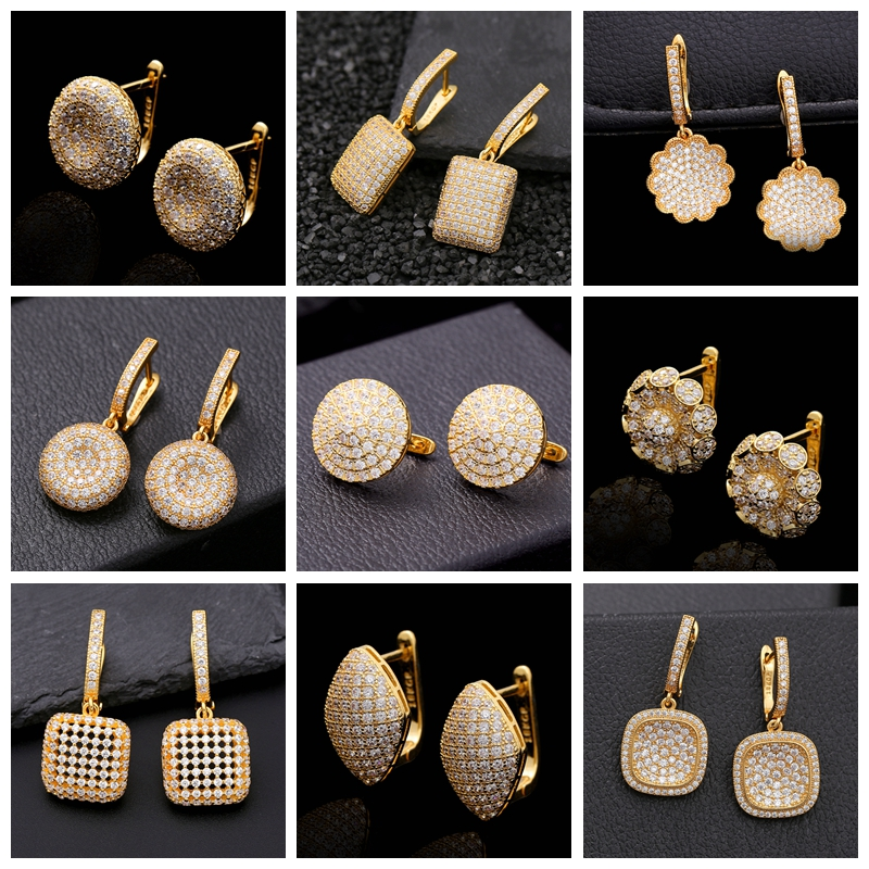 28 Different Styles Indian Wedding Luxury Jewelry Geometric AAA Zirconia Crystal Hoop Earrings for Women Unique Gold Earrings
