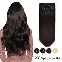 Extensiones de cabello humano con Clip de 120g, conjunto liso de 8 Uds., pelo Remy hecho a máquina, extensión de cabello humano 100%