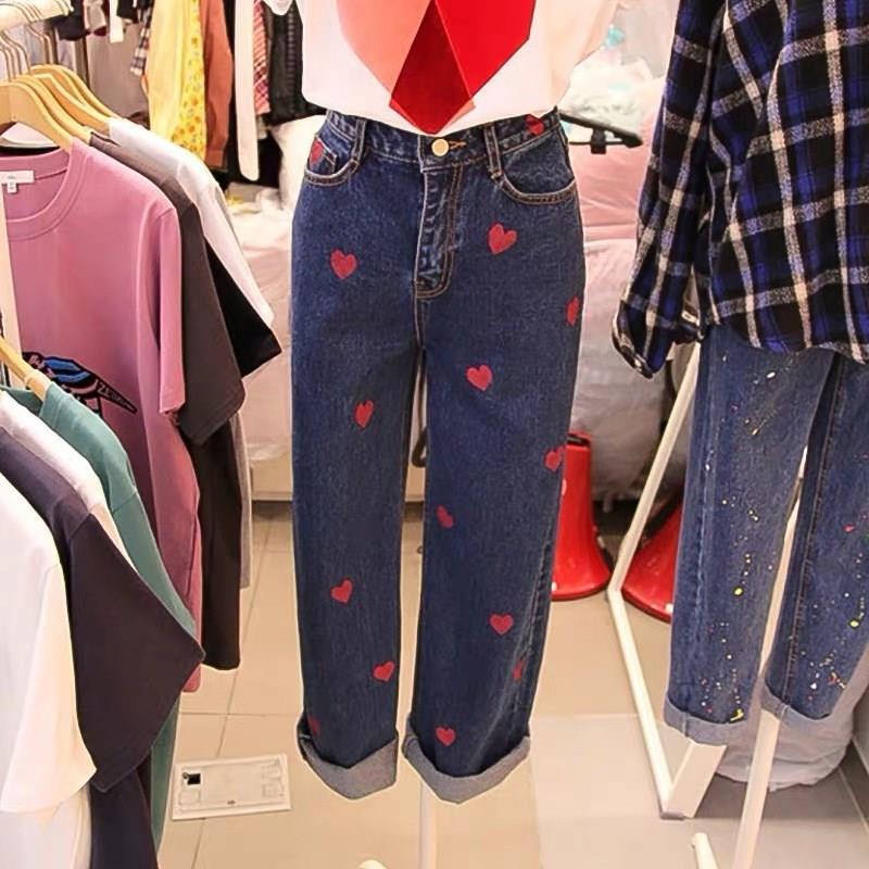 2019 Autumn Women Casual Pockets Straight Jeans Korean Love Heart Stitching Truosers High Waist Zippers Loose Denim Pants