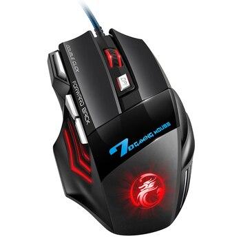 Мышь компьютерная игровая Проводная со светодиодной подсветкой, 5500 DPI, 7 кнопок