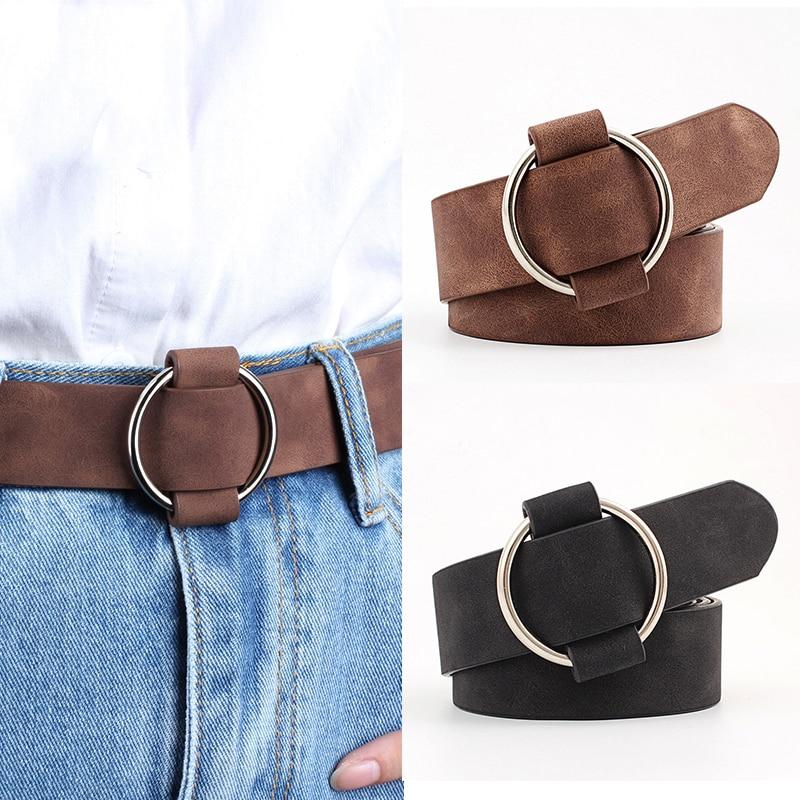Genuine Quality Ladies Fashion Latest Needle-free Metal Round Buckle Belt Jeans Wild Luxury Brand The Women Belt For