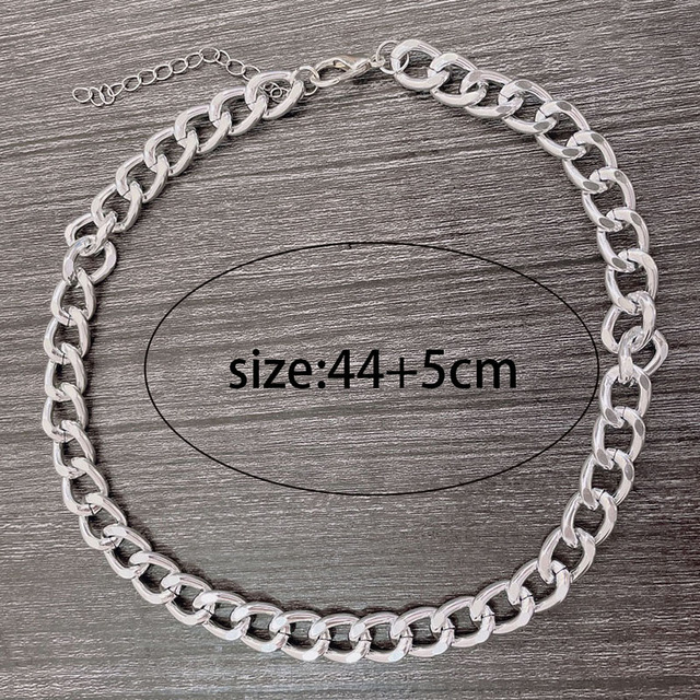 2021 Fashion Big Necklace for Women Twist Gold Silver Color Chunky Thick Lock Choker Chain Necklaces Party Jewelry 6