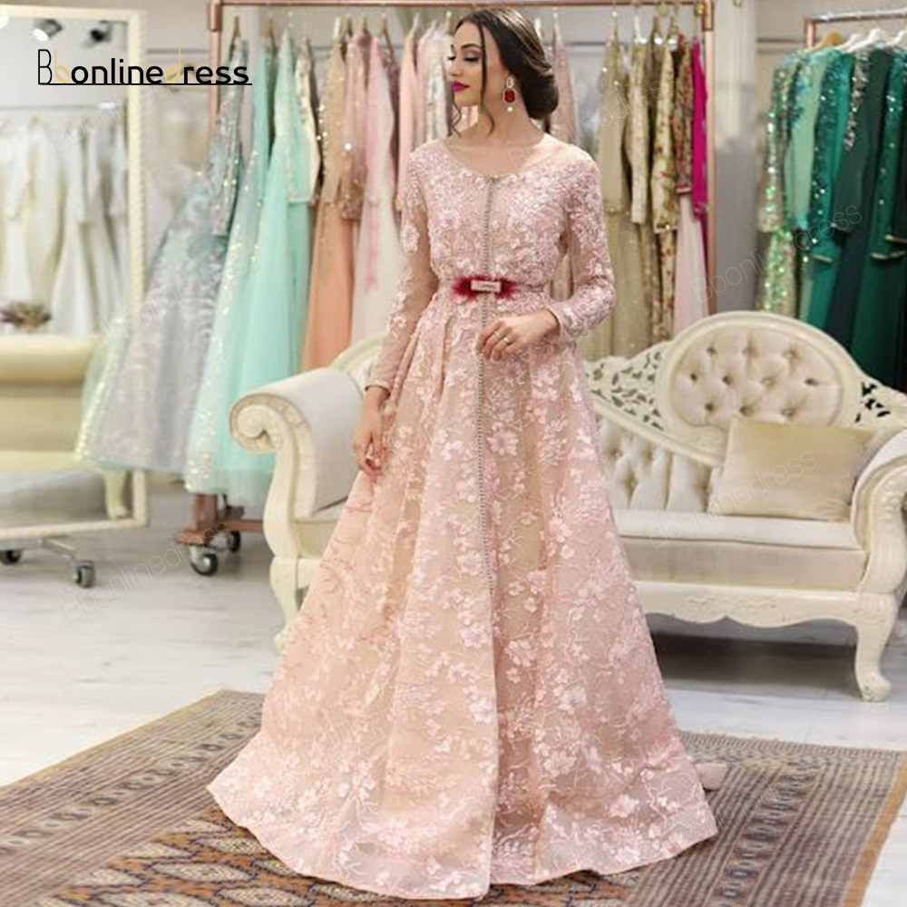 Bbonlinedress Moroccan Kaftan Evening Dresses Embroidery Appliques Long Evening Dress Full Sleeve Arabic Muslim Party Dress