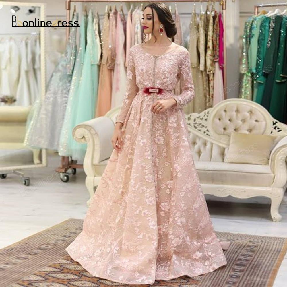 Bbonlinedress Moroccan Kaftan Evening Dresses Embroidery Appliques Long Evening Dress Full Sleeve Arabic Muslim Party Dress