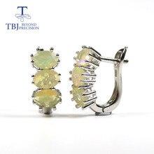 Opala conjunto de jóias natural multi cor pedra preciosa oval 5*7mm com 925 anel de prata esterlina e brinco jóias finas para mulher