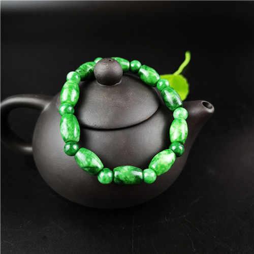 Natural verde jade grânulo pulseira pulseira elástica charme jóias moda acessórios mão-esculpida homem mulher presentes sorte amuleto