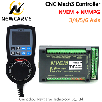 CNC Mach3 Set NVEM Ethernet Breakout Board + NVMPG Mach3 Handwheel With LCD Display 6 Axis MPG For DIY CNC Router NEWCARVE