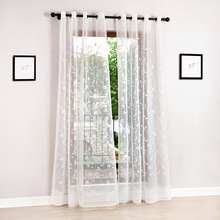 2 PC Jacquard floral design window curtain sheer for bedroom tulle fabric living room modern ready made