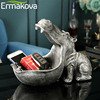ERMAKOVA Resin Hippo Statue Hippopotamus Sculpture Figurine Key Candy Container Decoration Home Table Decoration Accessories 3