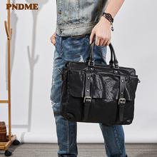 Повседневный роскошный мужской портфель из натуральной кожи