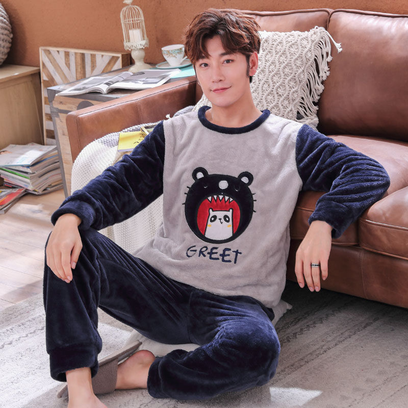 Night Suit Plus Size 3XL 4XL 5XL Flannel Pajamas Set Mens Autumn Winter Thick O-neck Sleepwear Cartoon Coral Fleece Pajamas Men
