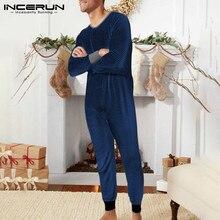 Men Sleepwear Jumpsuit Overalls Pajamas INCERUN Rompers Button Striped Cozy Leisure S-5XL