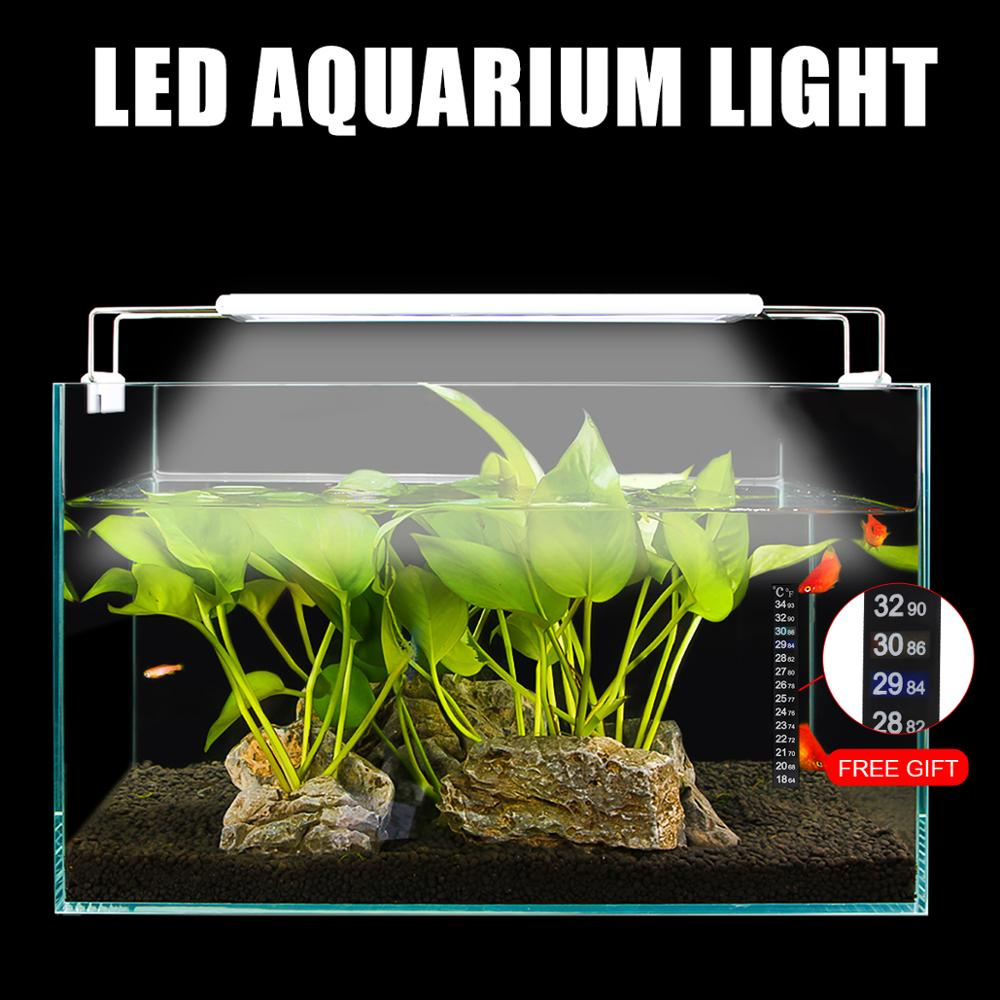 Extendable Slim Aquarium Dimmable Clip-on Light Aquarium Plant Light 220V/110V 5W/8W/11W/16W Fish Tank Aquarium Led Lighting