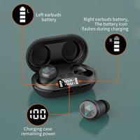 Tws bluetooth 5.0 fones de ouvido com microfone display led sem fio bluetooth fones à prova dwaterproof água cancelamento ruído fone 1