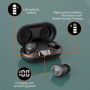 TWS Bluetooth 5.0 słuchawki z mikrofonem wyświetlacz LED słuchawki douszne bezprzewodowe z Bluetooth słuchawki wodoodporny zestaw słuchawkowy z redukcją szumów