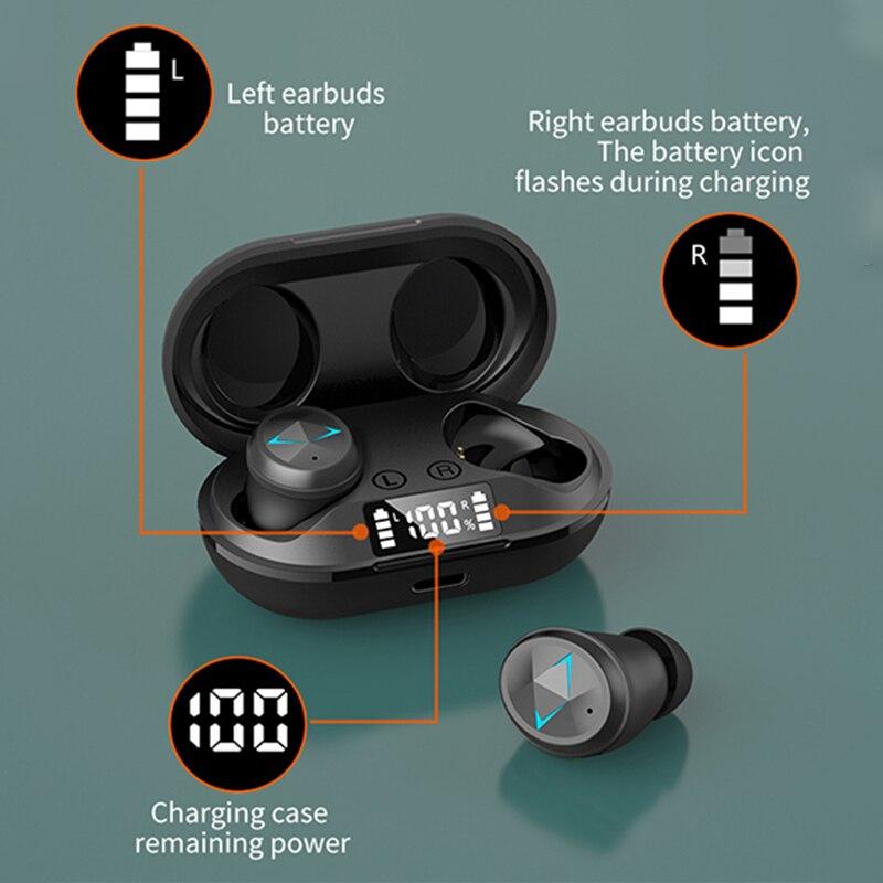 Tws bluetooth 5.0 fones de ouvido com microfone display led sem fio bluetooth fones à prova dwaterproof água cancelamento ruído fone