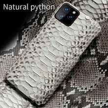 Coque en cuir véritable Python pour iPhone 11 Pro Max 12 Pro Max 12 Mini X XS max XR 5s 6 6s 7 8 Plus SE 2020 housse en peau de serpent