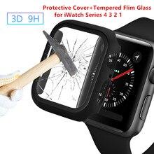 Часы чехол защитный чехол+ закаленное защитная пленка на Стекло Экран защита для наручных часов Apple Watch 38/42/40/44 мм для наручных часов iWatch серии 5 4 3 2 1