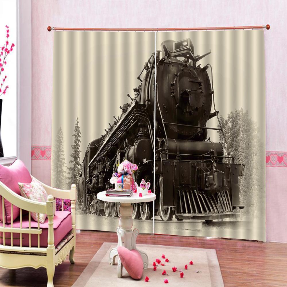 retro curtains Customized size Luxury Blackout train 3D Curtain Luxury Blackout Window Curtain Living Room