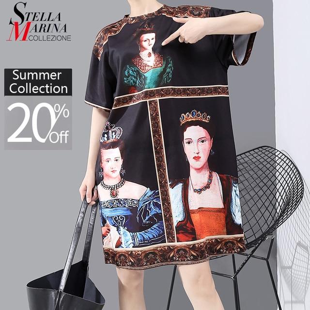 New 2020 Korean Style Women Summer Black Dress Printed Ladies Plus Size Casual Straight Midi Dress Cute Wear Robe Femme 6001