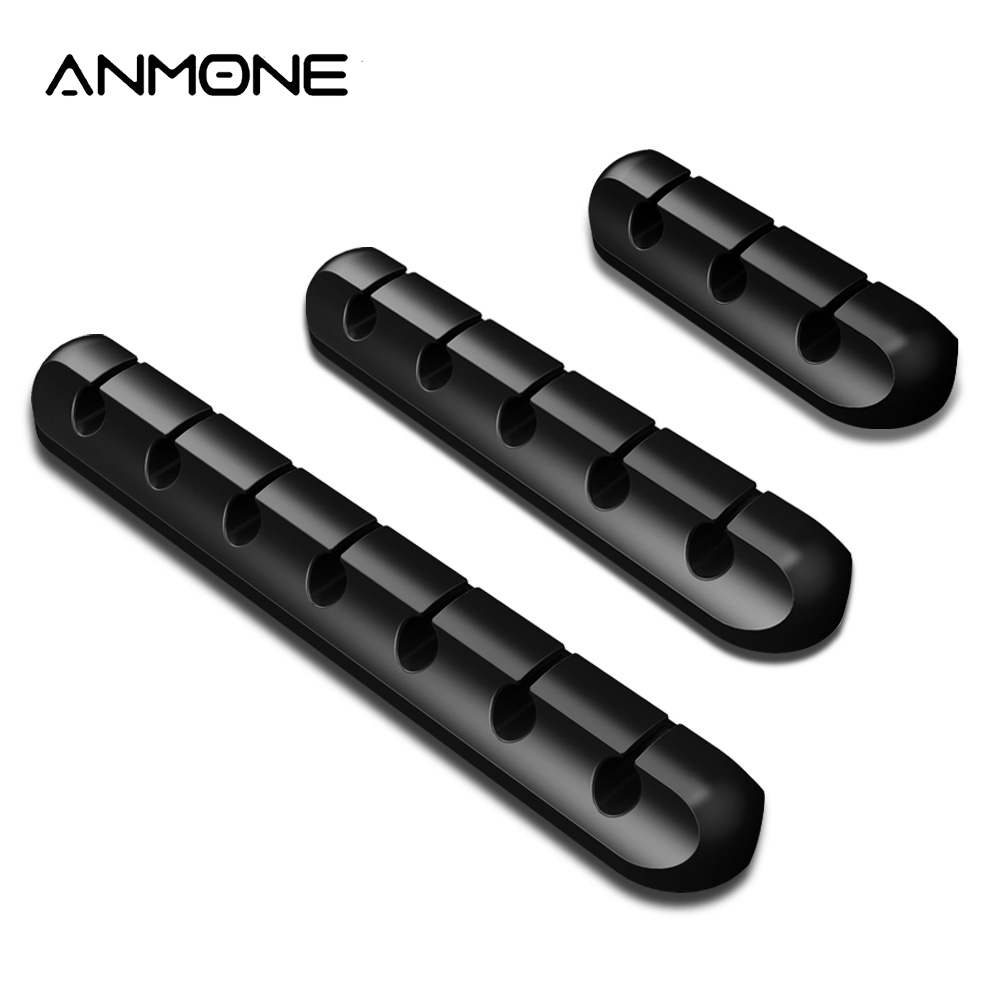 ANMONE Silicone USB Cable Winder Flexible Cable Management Clips Wire Holder For Earphone Mouse Cord Phone Line Desktop Storage