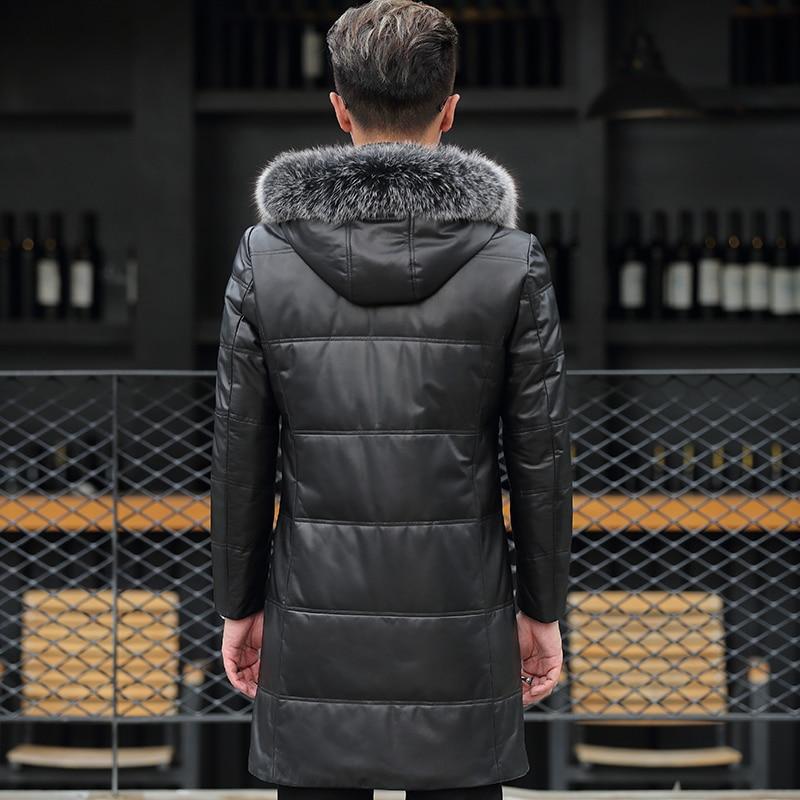 Genuine Leather Jacket Men Winter Hooded Jackets Real Sheepskin Fox Fur Collar Mens Warm Down Coat Jaqueta Couro YZF29212 YY419