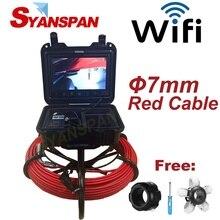 Беспроводной Эндоскоп SYANSPAN для обследования труб диаметром 7 мм, видеокамера для канализации, провод 20-50 м, Wi-Fi, промышленный эндоскоп